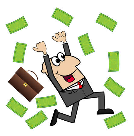 business man is glad to a powerful lot of money, illustration Ilustrace