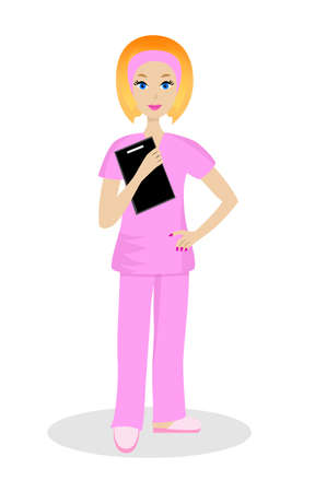 young woman doctor on white background, illustration Vector