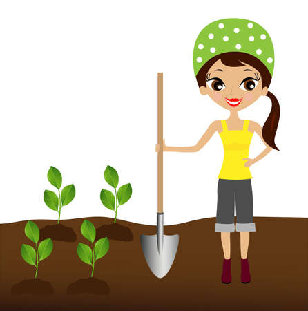 relaciones laborales: una joven planta un trasplante de vivero en el suelo, la ilustración Vectores