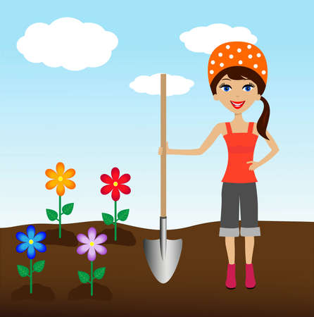 industriousness: young woman plant flower in soil,illustration