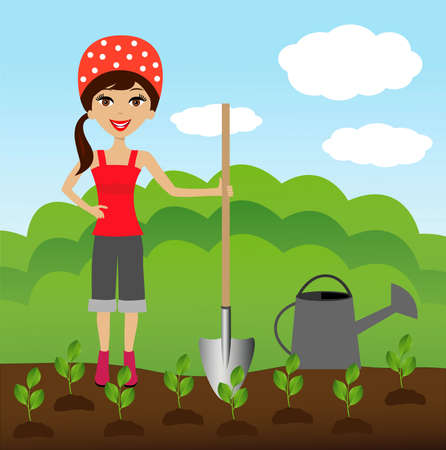 industriousness: a young woman plants a nursery transplant in soil, illustration