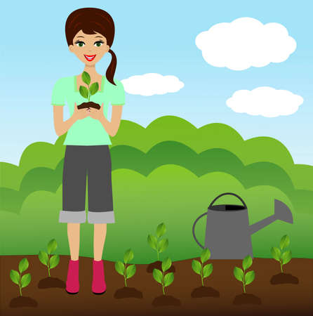 mastery: a young woman plants a nursery transplant in soil,  illustration