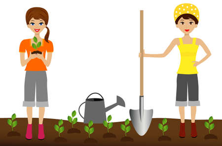 industriousness: two young woman plant nursery transplant in soil, illustration