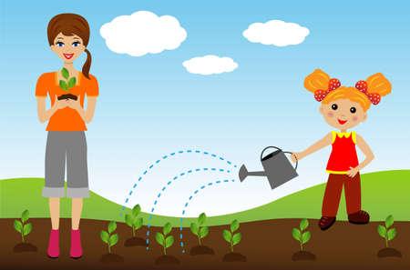 relaciones laborales: madre con el trasplante de vivero de plantas hija en el suelo, la ilustración Vectores
