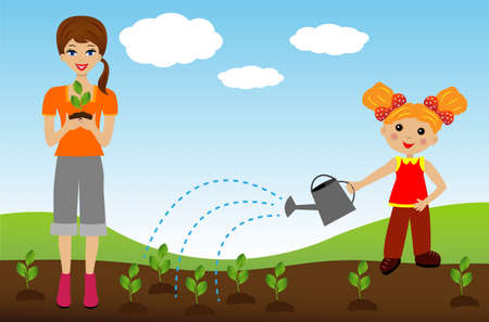 industriousness: mother with daughter plant nursery transplant in soil,illustration