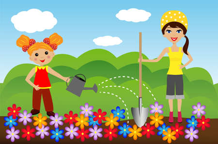industriousness: mother with daughter plant flowers in soil, illustration