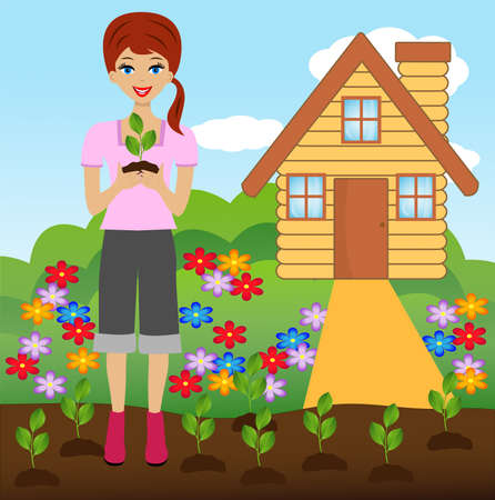 transplants: young woman plant flower in soil,  illustration