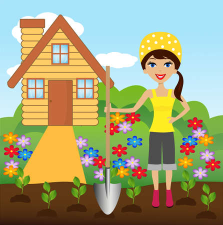 industriousness: young woman plant flower in soil, illustration