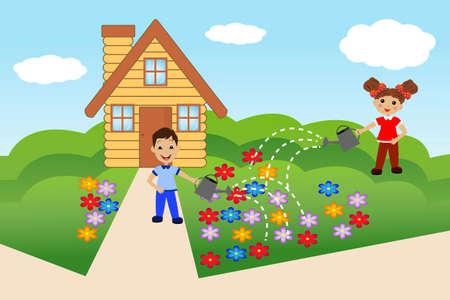 relaciones laborales: niño vierta flores en la residencia de verano, ilustración
