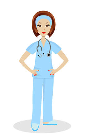 young woman doctor on white background, illustration Illustration