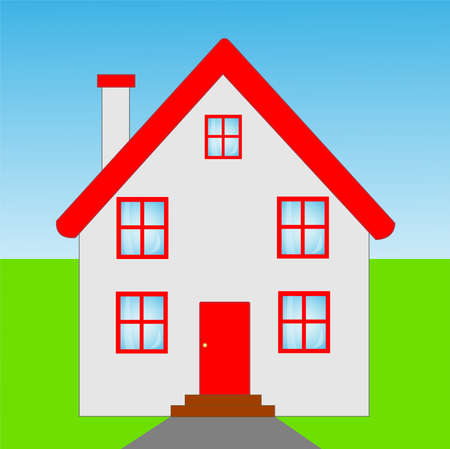 mansard: beautiful  house  with a red roof, illustration