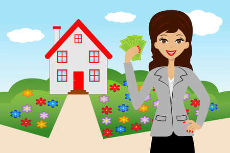new house: young woman with money in hands on a background a new house,  illustration Illustration