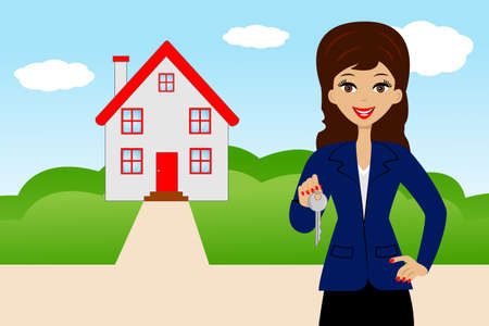 young woman with the key in hands on a background a new house,   illustration