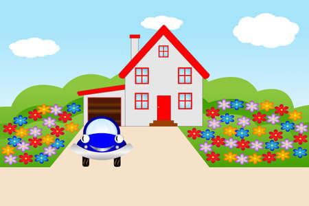 mansard: beautiful house  with a flowering garden, illustration