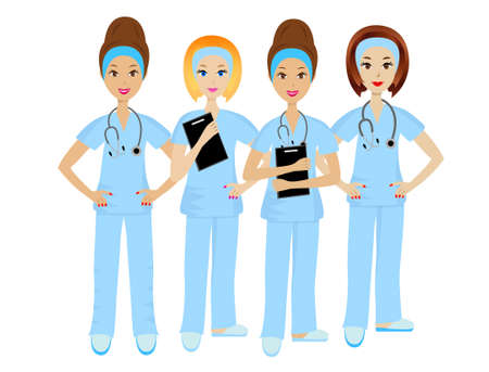 specialities: group young doctor on white background, illustration