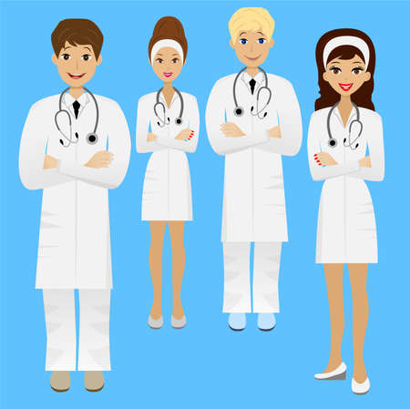 group young doctor , illustration Illustration