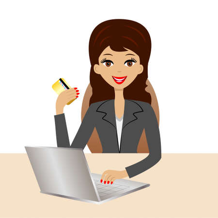 accomplishes: business woman accomplishes purchases over the internet, illustration