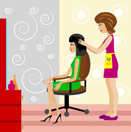woman in a beauty salon does a hair-do,   illustration Vector