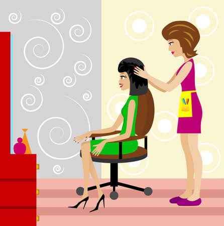 woman in a beauty salon does a hair-do,   illustration Vector