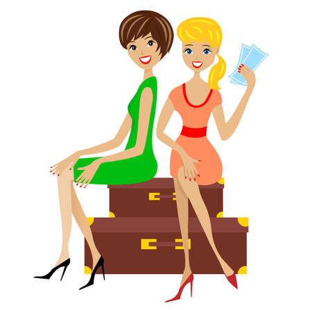 isolation: two young women sit on suitcases,  illustration Illustration