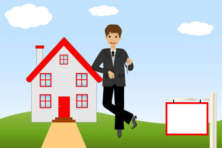 new house: young man with the key in hands on a background a new house,   illustration
