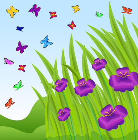 spot the difference: background with violet flowers and butterflies, vector  illustration