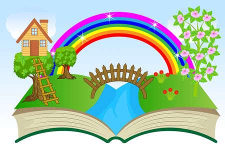 open book with summer landscape, vector illustration Illustration
