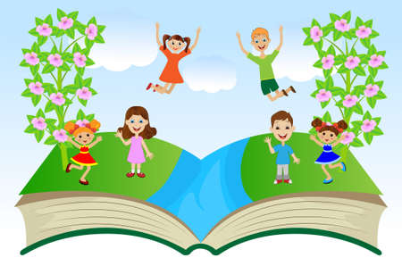 open book with children and summer landscape, vector illustration Vector
