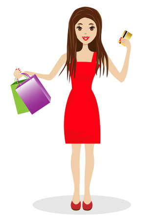 novelties: woman with a credit card and purchases in hands, vector illustration Illustration