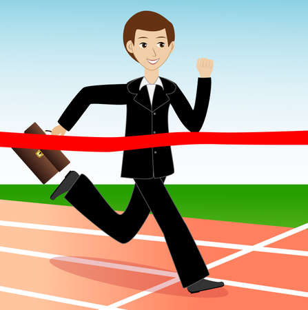 business man hurries on a stadium to the finish, vector illustration