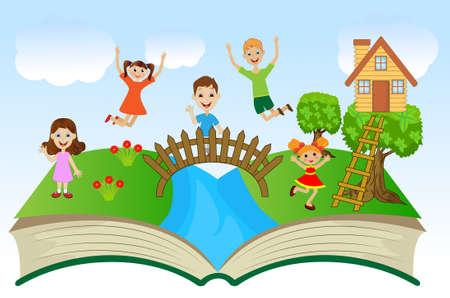 leggere libro: libro aperto con i bambini e paesaggio estivo, illustrazione vettoriale