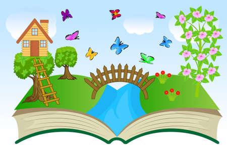 flue season: libro abierto con el paisaje de verano, ilustraci�n vectorial