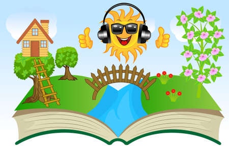 perfectly: open book with summer landscape, vector illustration Illustration