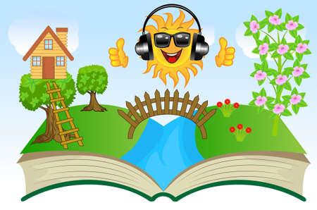 brook: open book with summer landscape, vector illustration Illustration
