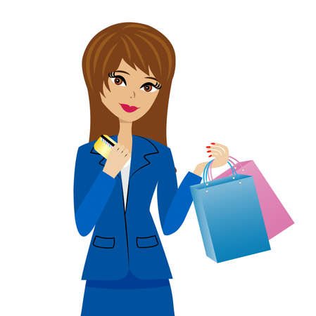 upright: woman with a credit card and purchases in hands, vector illustration Illustration