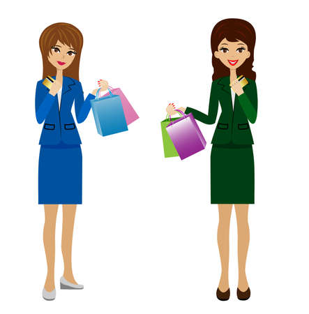 novelties: two business women with credit cards and purchases in hands, vector illustration
