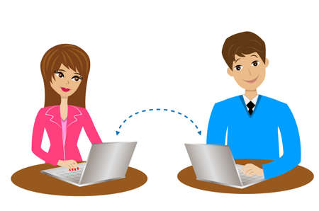 man and woman communicate over the internet, vector illustration Illustration