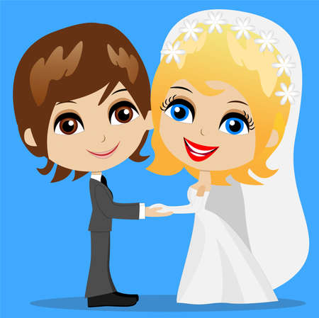 fiancee: beautiful groom with fiancee, vector illustration Illustration