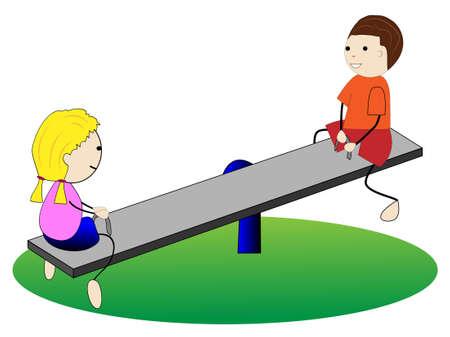 gladness: girl and boy swing on swings,vector illustration Illustration