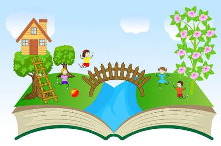 brook: open book with children and summer landscape, vector illustration
