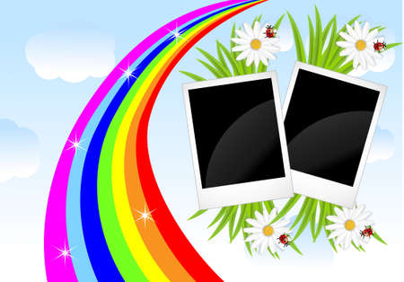 two photos, flowers and rainbow on a background sky,vector illustration