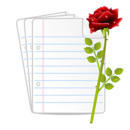 paper folias and red rose, vector illustration
