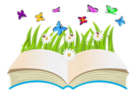 open book, flowers and butterflies,vector illustration Vector