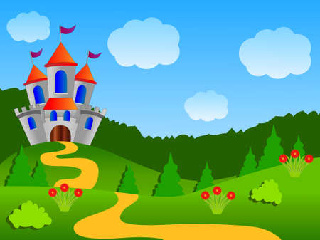 fairy-tale palace on the fringe of the forest, vector illustration