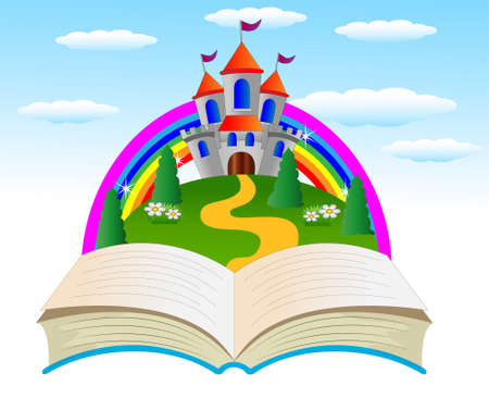 varicoloured: open book with a fairy-tale palace on the fringe of the forest, vector illustration Illustration
