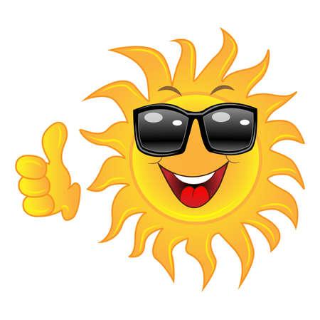 upwards: merry sun spectacled a thumb heaved up upwards,  vector  illustration