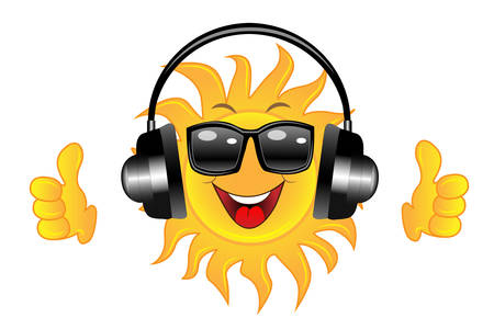 spectacled: merry sun spectacled and headsets on white background, vector illustration