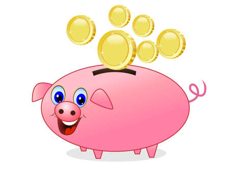 accumulations: chinks fall in a pig money-box on white background, vector illustration