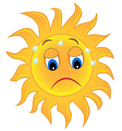 sad eyes: sad sun is exhausted from a heat,  vector  illustration Illustration