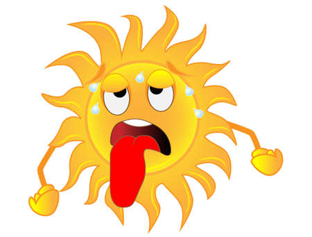 sad sun is exhausted from a heat,  vector  illustration Ilustrace